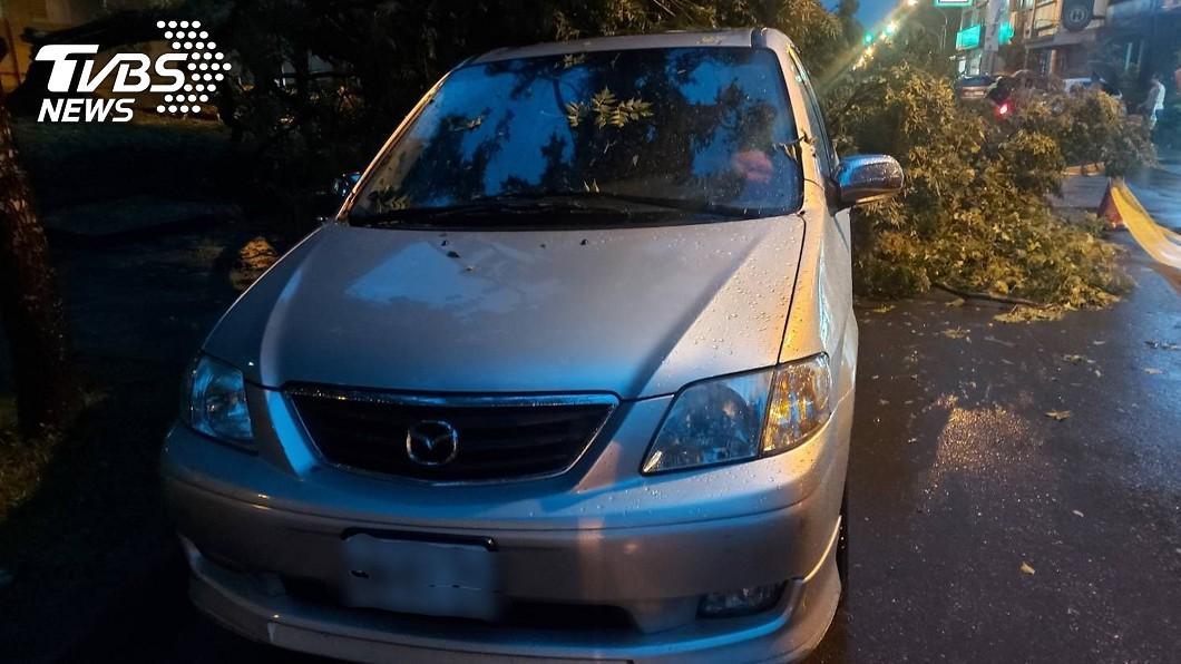 圖/宜蘭縣警局提供 宜蘭市晚間強降雨 路樹倒塌壓毀2車