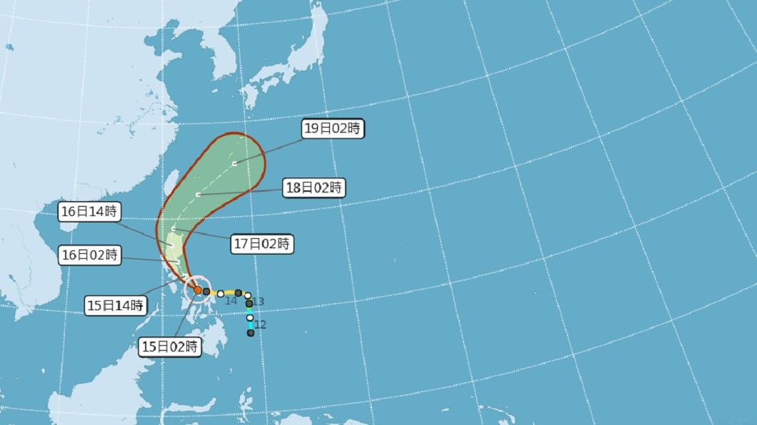 圖/中央氣象局 白天高溫炎熱 颱風黃蜂外圍環流16日起影響台灣