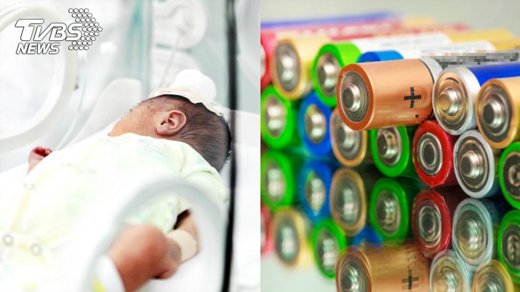 (示意圖,與本事件無關/TVBS) 1歲嬰誤食電池…下秒嘴裡爆炸「黑色粉末噴出狂冒煙」