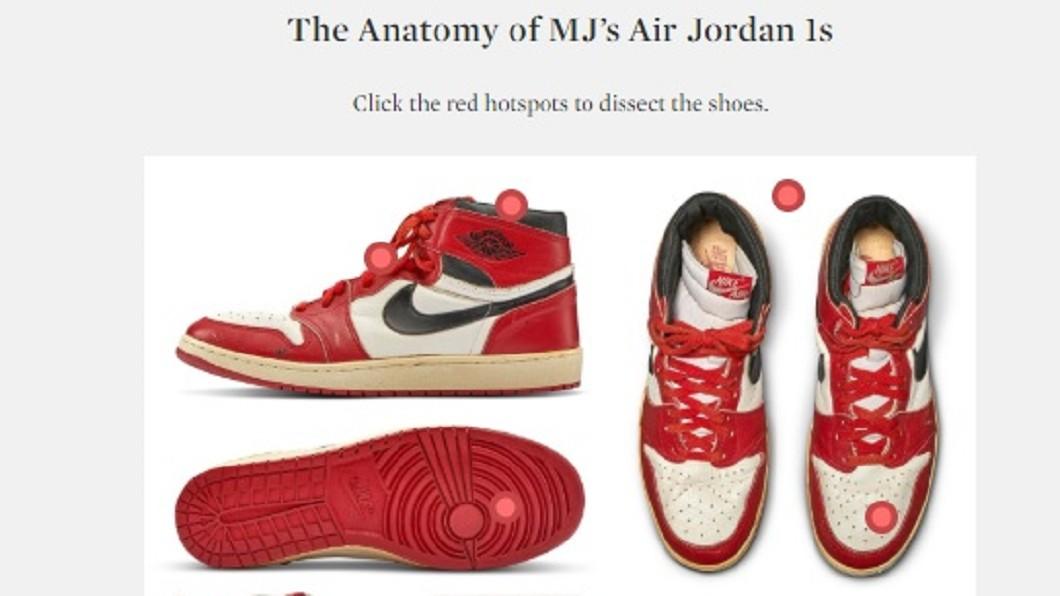 圖/翻攝自Sotheby's官方網站 史上最貴的籃球鞋! 喬丹實戰鞋1689萬天價賣出