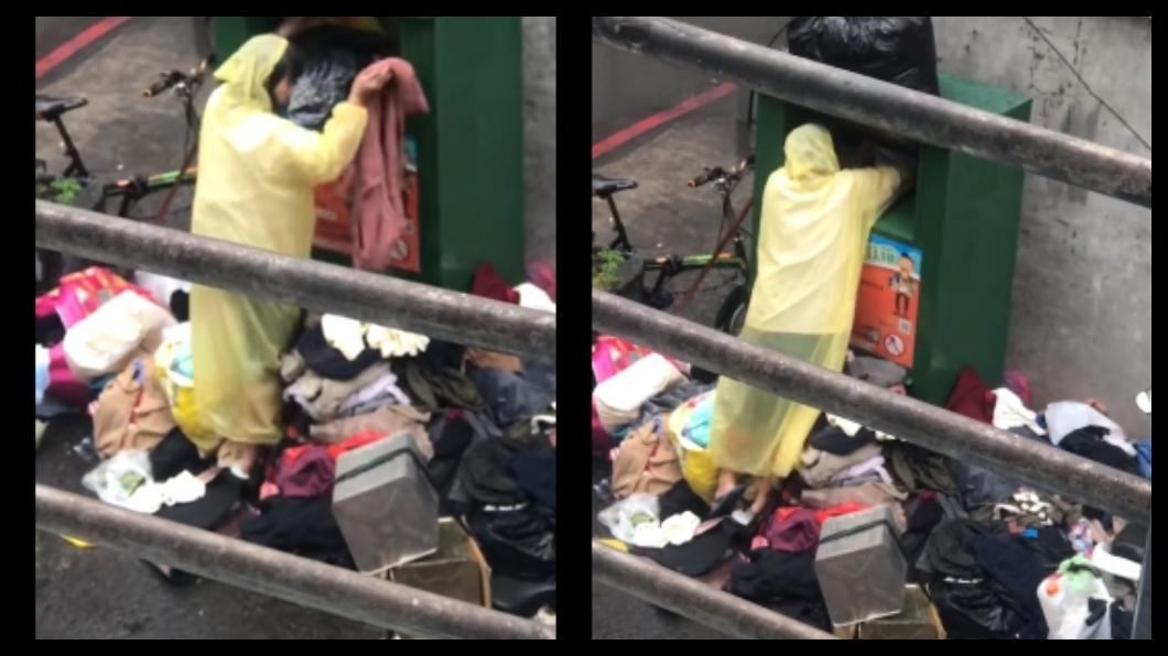 民眾目睹一名女子亂翻舊衣回收箱 (圖/翻攝自爆廢公社公開版) 女狂翻舊衣回收!不滿意「丟地上淋雨」 目擊者氣炸報警