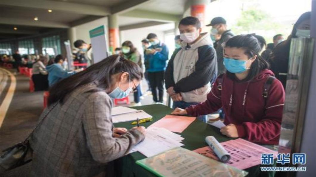 圖/翻攝自 新華網 疫情拖延開學 中國大陸874萬畢業生求職受困
