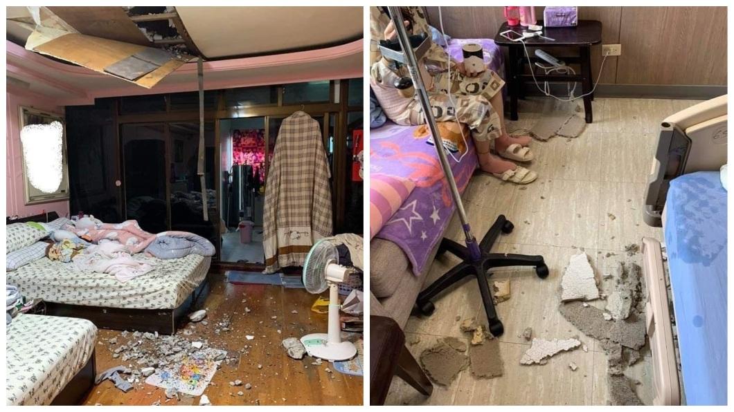 1名女網友日前分享自己先後在家裡房間和醫院病房內,遇到天花板崩塌的意外。(圖/翻攝自爆料公社臉書粉絲團) 女連遇2次天花板崩塌 「恐怖巧合」她自嘲:該買樂透了