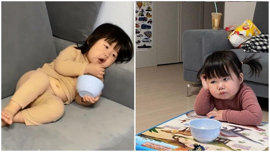 南韓1名小萌娃卻有著大叔魂,呈現超萌的反差。(圖/翻攝自IG合成) 女萌娃擁大叔魂?肉肚腩頂厭世臉超反差 網見母顏值驚呆