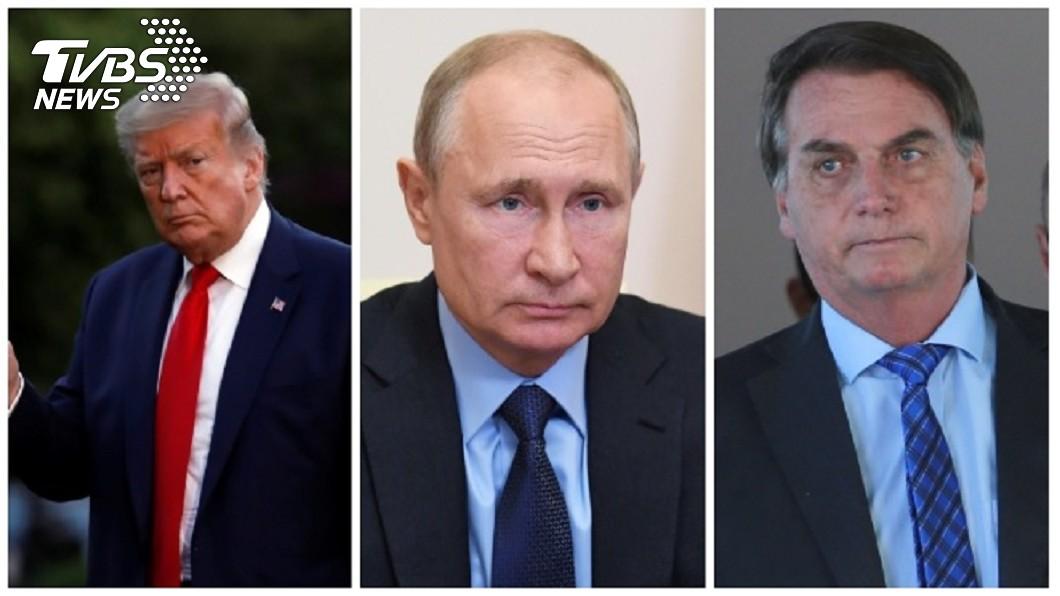 美國有線電視新聞網(CNN)指出,美國、巴西和俄羅斯3位大男人主義總統這次防疫的表現威風盡失。左川普、中普欽、右波索納洛。(圖/達志影像路透社) 民粹手法對付疫情失靈 美、俄、巴西總統威風盡失