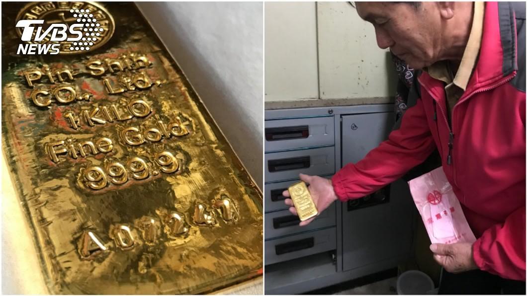 舊鐵櫃掉出1塊約1公斤鐵塊。(圖/TVBS) 拾金不昧!婦撿舊鐵櫃驚見市值150萬金塊 急送還失主