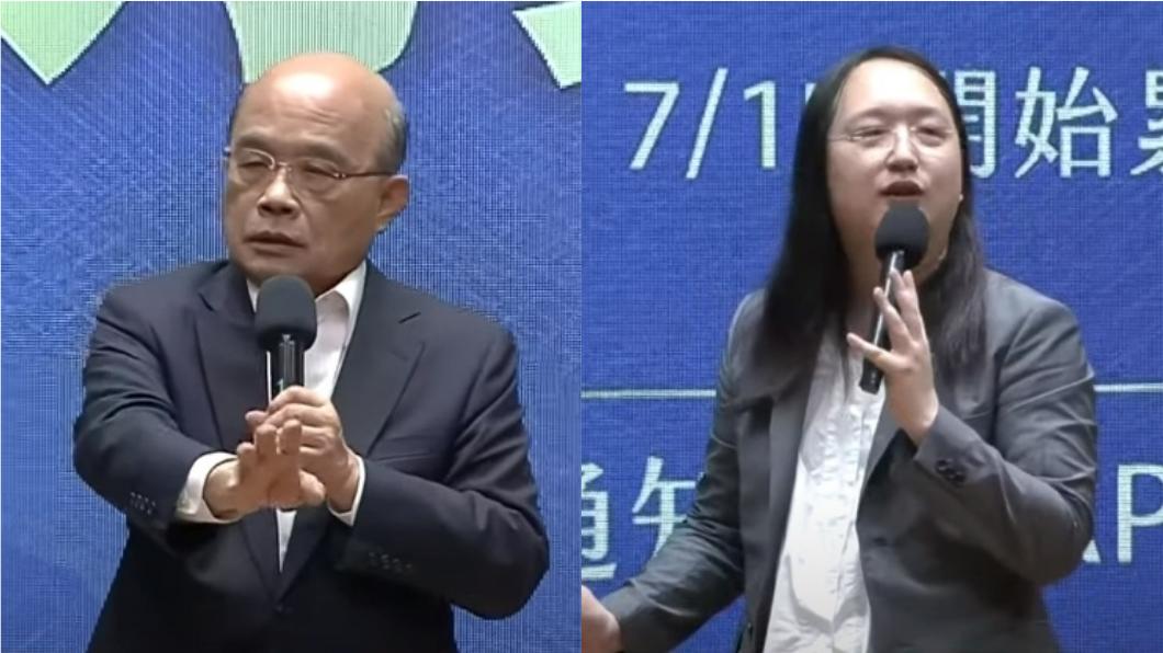 蘇貞昌表示未來三倍券若出現任何破綻「唯唐鳳是問」。(圖/TVBS) 「唯唐鳳是問」蘇揆被轟爆!丁怡銘驚語:他們兩個在調情