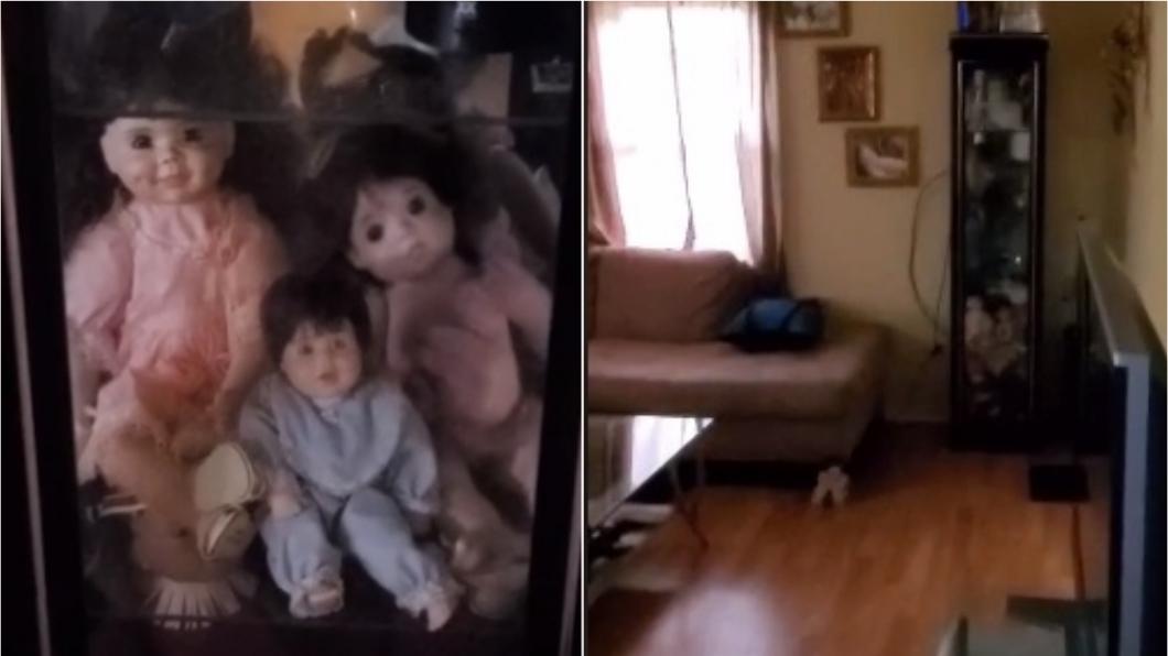 男子家中收藏3隻詭異娃娃。(圖/翻攝自加塞特臉書、YouTube) 慎入!男聽詭聲見玩偶「狠瞪滑來」畫面嚇壞人