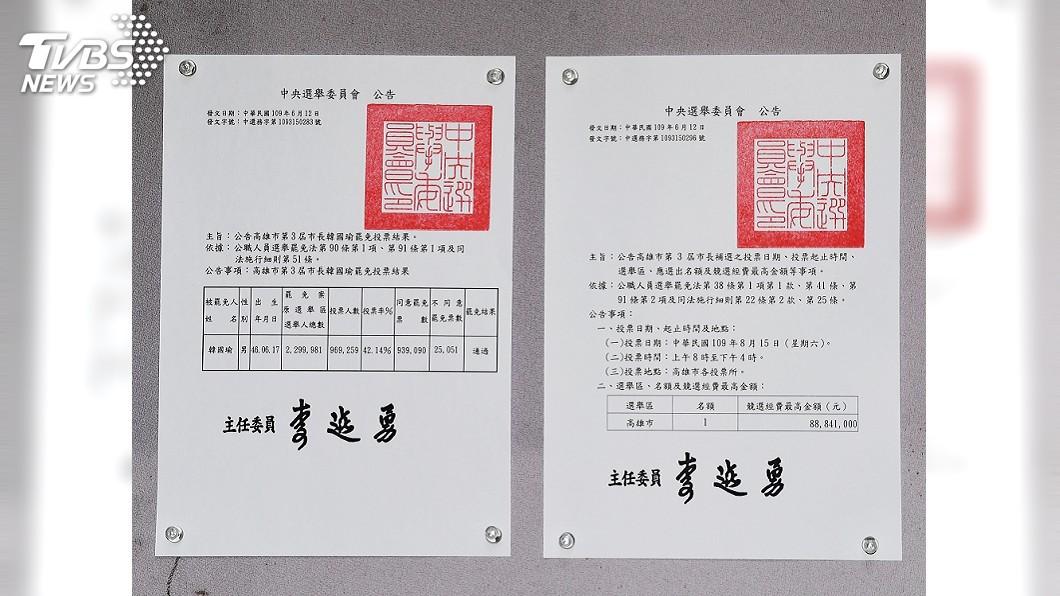 高雄市長補選將在8月15日投票,國民黨批評中選會已成為「補選國家隊」。(圖/中央社) 中選會提前高市長補選 國民黨嗆:刻意壓縮在野黨準備時間