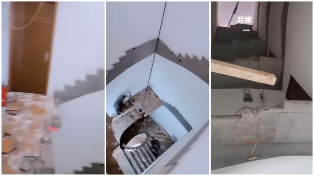 浙江1名男子日前準備出門上班時,沒想到打開門一看,外面樓梯全都消失不見了。(圖/翻攝自微博) 5樓住戶外出上班 開門見「樓梯消失」崩潰:怎麼下樓?