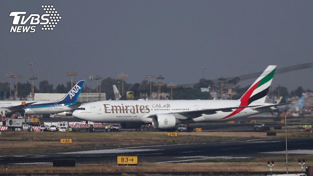 阿聯酋航空今天起復飛台灣。(圖/達志影像路透社) 停航台灣3個月 阿聯酋復飛首班晚間抵桃機