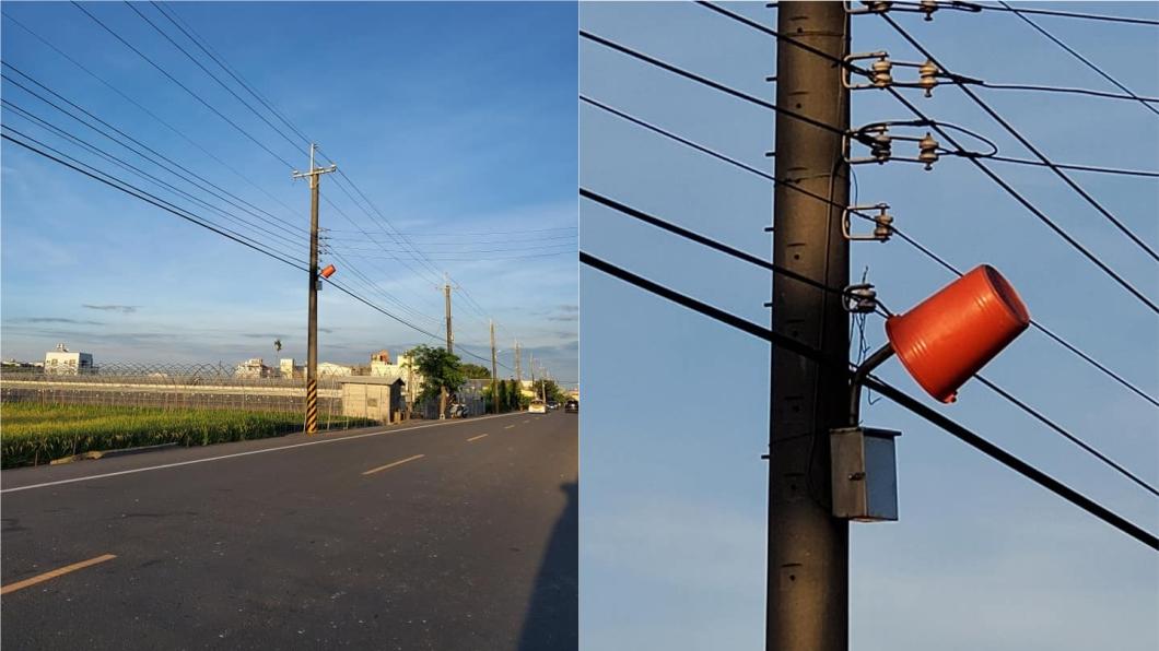 田野路旁的電路燈被水桶罩住。(圖/翻攝自爆怨公社) 長知識!田野旁路燈被「蓋水桶」 內行揭可愛原因