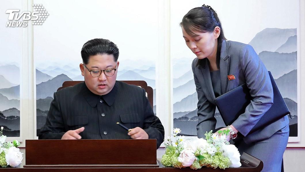 北韓領導人金正恩與胞妹金與正。(圖/達志影像美聯社) 南韓國防部指金與正扮黑臉 鞏固金正恩地位