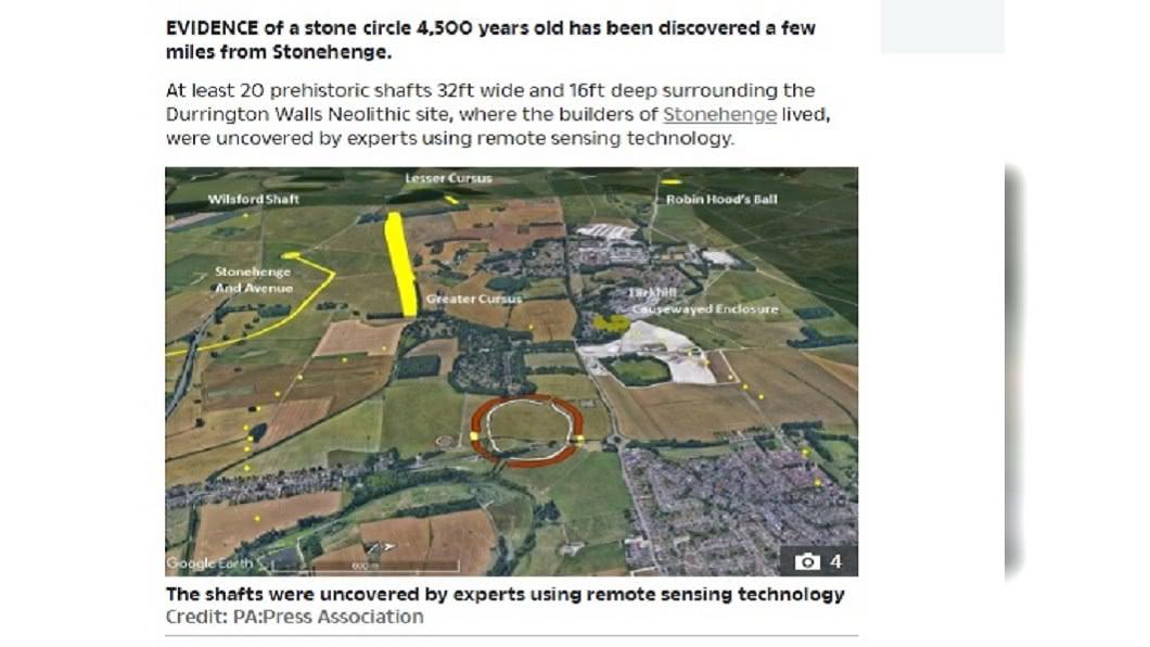 考古學家在巨石陣附近發現擁有4500年歷史的巨大豎井圈遺跡。(圖/翻攝自The Sun) 英國巨石陣附近 發現新石器時代巨大豎井圈