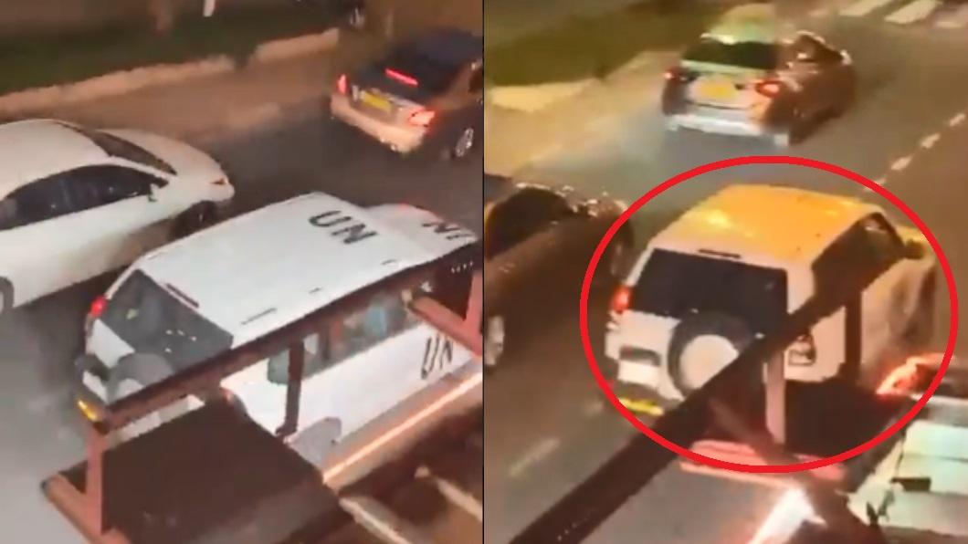圖/翻攝自推特 公務車內男女緊貼!18秒「親密片」流出震撼聯合國