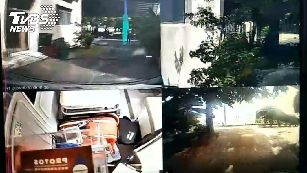 國小學童驚傳遭到觸電。(圖/TVBS) 屏東國小畢業典禮舞台車漏電 學童誤觸遭電暈急救