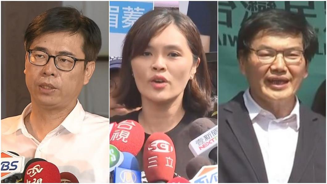 高雄市長補選藍綠白三強比親民。(合成圖/TVBS) 高雄市長補選要親民搶曝光 藍綠白各顯神通