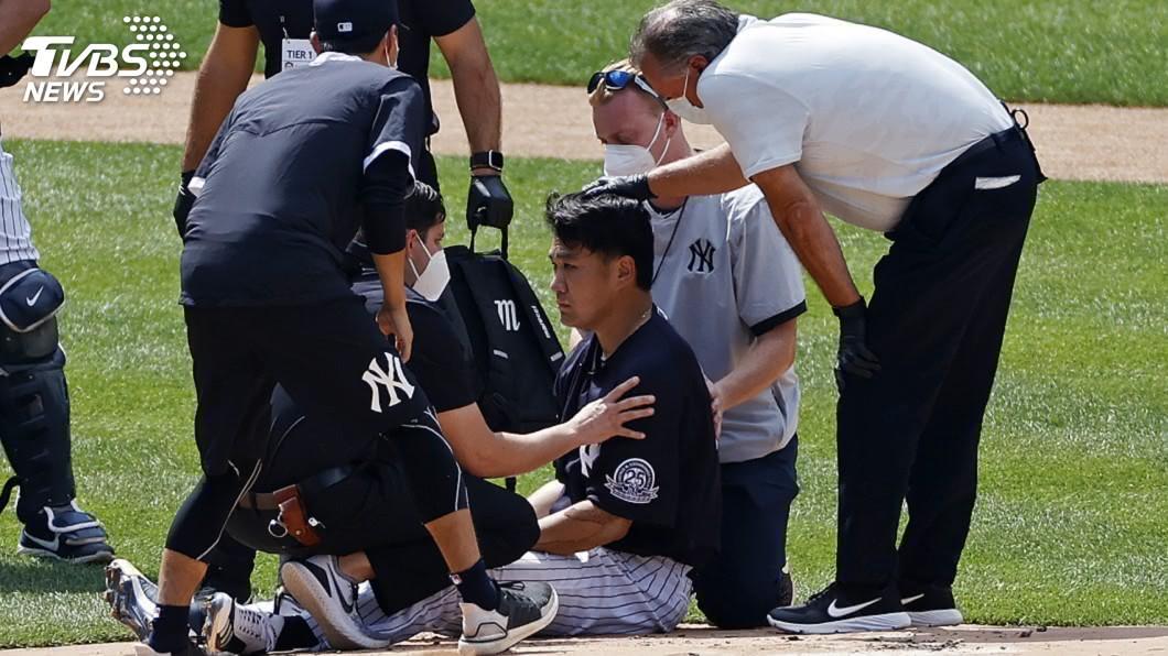 紐約洋基日籍強投田中將大昨天練習時遭隊友史丹頓強襲球擊中頭部。(圖/達志影像美聯社) 田中將大遭強襲球擊中頭 輕微腦震盪但看似無礙
