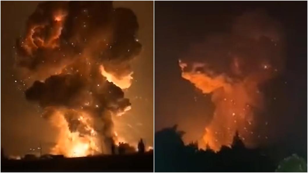 (圖/翻攝自鳳凰網、澎湃新聞) 四川鞭炮廠連環爆炸「蘑菇雲」衝天 女童嚇壞:媽媽快跑