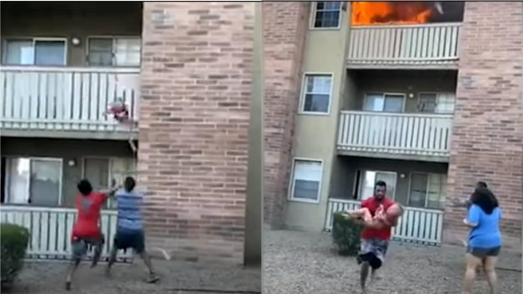男子奇蹟似接住男童。(圖/翻攝自ABC7) 神救援!媽全身著火「扔兒下窗」 男1秒衝刺接住