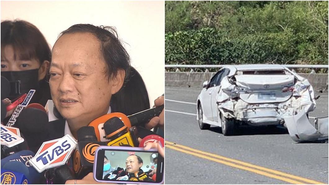 (圖/TVBS資料畫面、翻攝畫面) 葉金川駕車出遊遭貨車追撞 胸悶急送醫