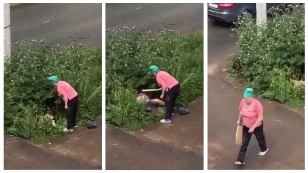 俄羅斯1對男女在路邊草叢上演激情大戰,結果一名路過大媽目擊,直接拿起木板朝2人一陣狂打。(圖/翻攝自YouTube) 情侶大白天在草叢「浪漫撞擊」 大媽抄木板狂K:不要臉