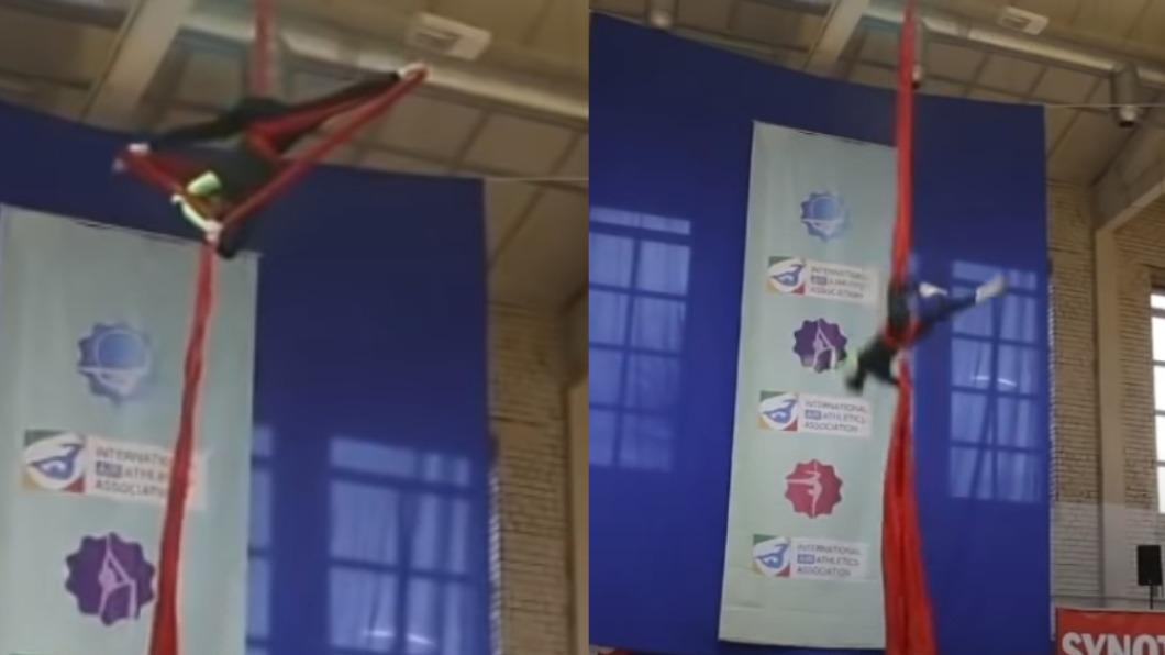 體操選手直接從高處墜落。(圖/翻攝自MoshebabaV YouTube) 安全扣損壞!體操選手高空重摔墜落 脊椎對折成「斷筷」