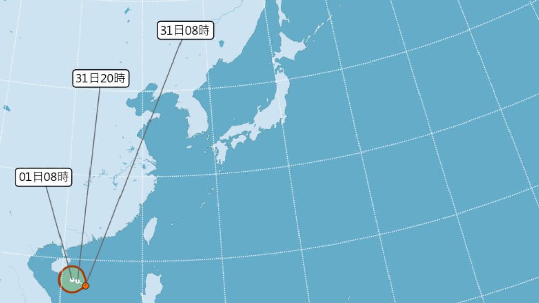 熱帶低壓上午形成,今明2日有機會形成颱風。(圖/中央氣象局) 別鬆懈!7月0颱有變數 熱帶低壓不排除今成颱
