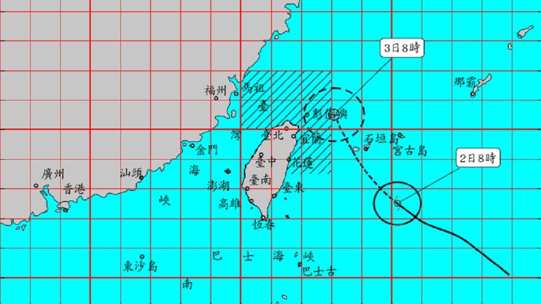氣象局2日針對今年第四號颱風「哈格比」發布海上颱風警報。(圖/翻攝自中央氣象局官網) 哈格比海警!「今晚明晨風雨最劇」不排除發陸警