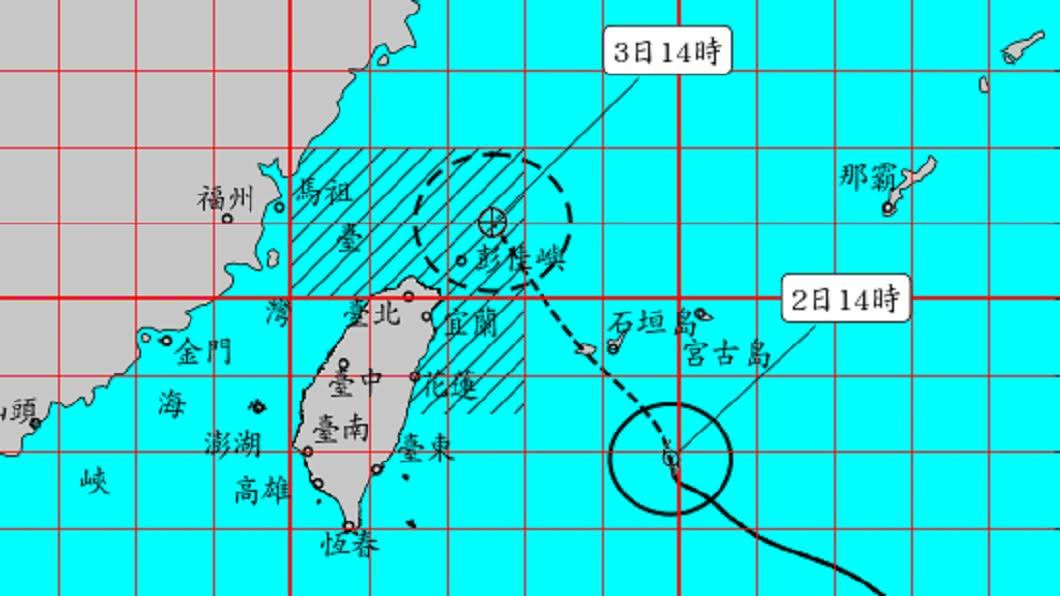 輕颱「哈格比」路徑。(圖/中央氣象局) 哈格比持續增強!今晚明晨雨勢猛 氣象局:不排除發陸警