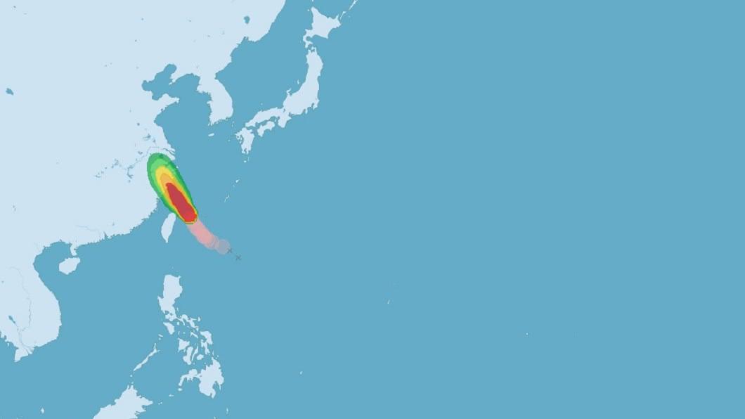 颱風哈格比預計仍有持續增強趨勢,目前暴風圈已經進入東北部及北部海面。(圖/中央氣象局) 颱風哈格比暴風圈進入東北部海面 仍有增強趨勢