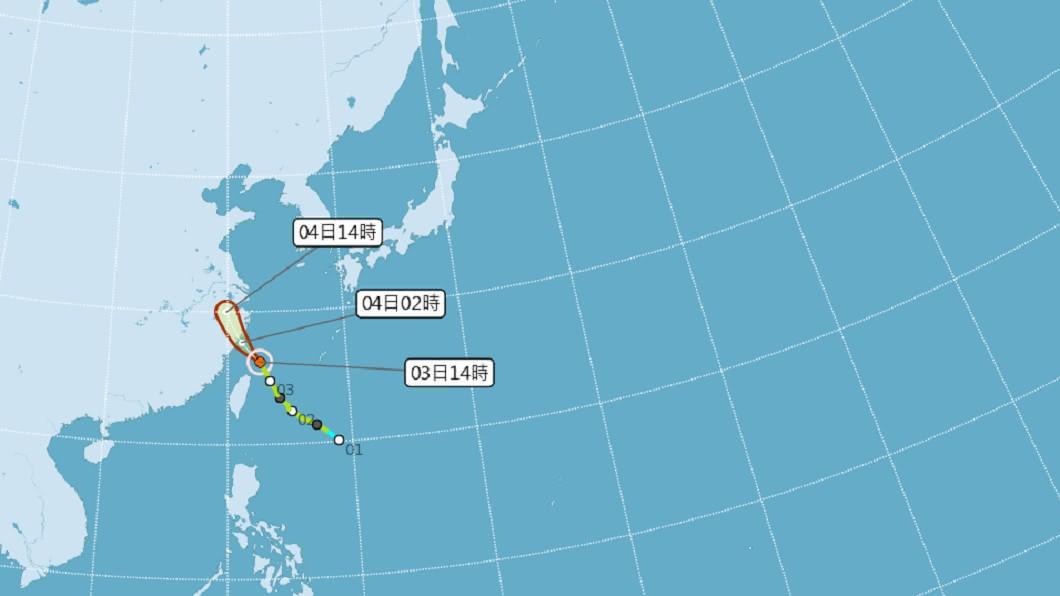 (圖/翻攝自中央氣象局官網) 「哈格比」增強為中度颱風 16縣市嚴防豪大雨來襲