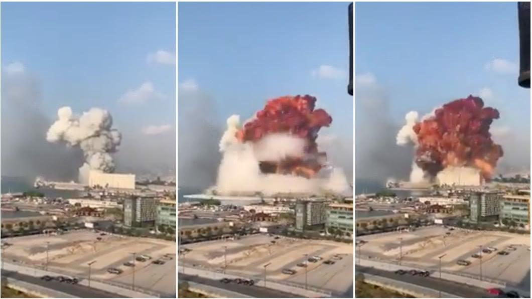 黎巴嫩首都大爆炸。(圖/翻攝自YouTube) 黎巴嫩首都大爆炸!橘紅火球竄天際 全市震動滿地屍體