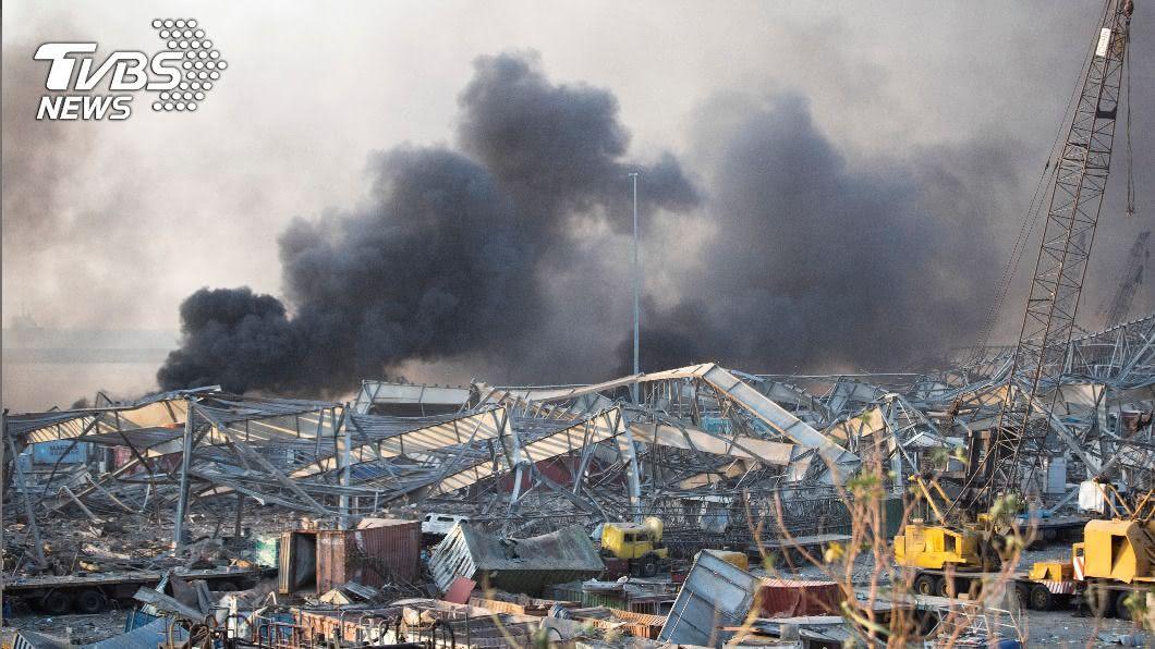 黎巴嫩首都貝魯特4日發生驚天大爆炸。(圖/達志影像美聯社) 貝魯特大爆炸 專家推斷恐爆竹引燃硝酸銨