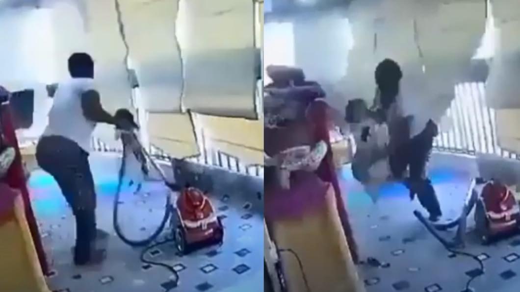 非裔幫傭及時抱起女童往外衝。(圖/翻攝自Suliman officials YouTube) 家中玻璃全震毀!非裔幫傭1舉動被讚爆:沒有翅膀的天使