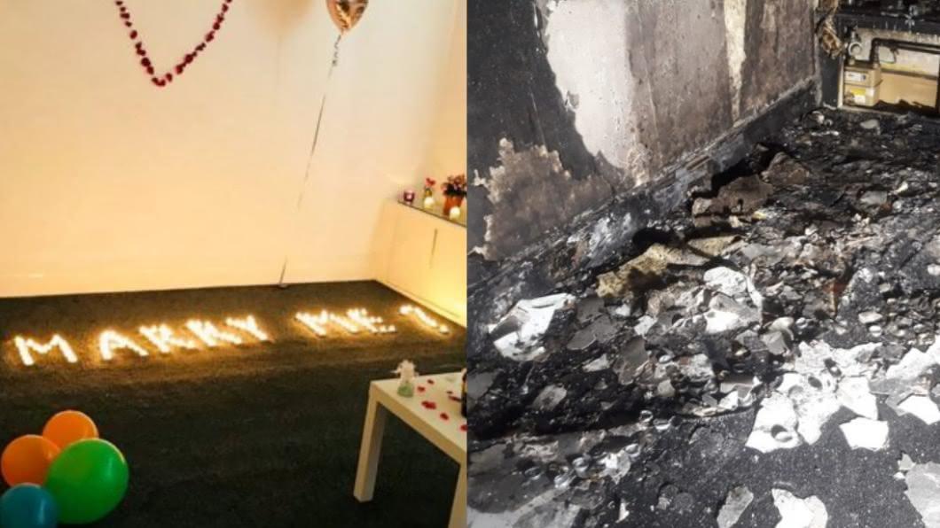 恩德魯計畫浪漫求婚,最後竟把房子給燒了。(圖/翻攝Twitter) 天兵男點百顆蠟燭浪漫求婚 回家見此幕當場傻眼