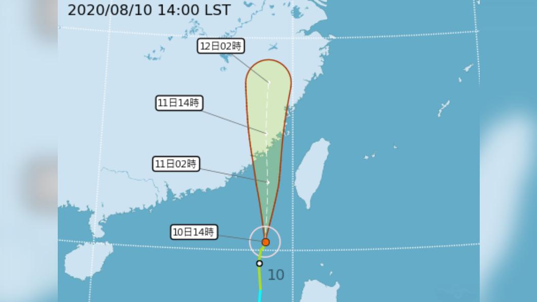 米克拉颱風增強,澎湖今晚達停班停課標準。(圖/中央氣象局) 米克拉颱風增強! 澎湖今晚達停班課標準