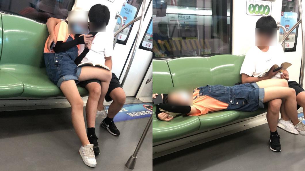 情侶放閃要注意地點!(圖/翻攝自微博) 情侶搭地鐵換3姿勢「交疊放閃」 眾人傻眼:太開放了吧