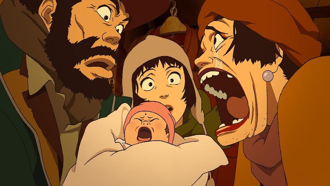 劇照 /《 東京教父 》光年映畫 提供 日本動畫鬼才:今敏 流浪漢與棄嬰譜出成人童話