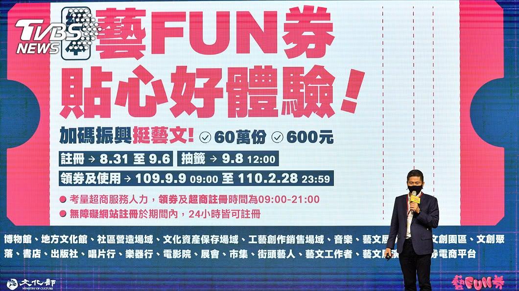 (圖/中央社) 紙本藝FUN券8/31註冊 9/8抽出60萬幸運得主