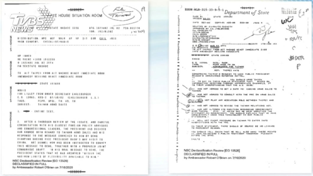 圖/TVBS AIT解密「六項保證」電報 外交部:正告中國