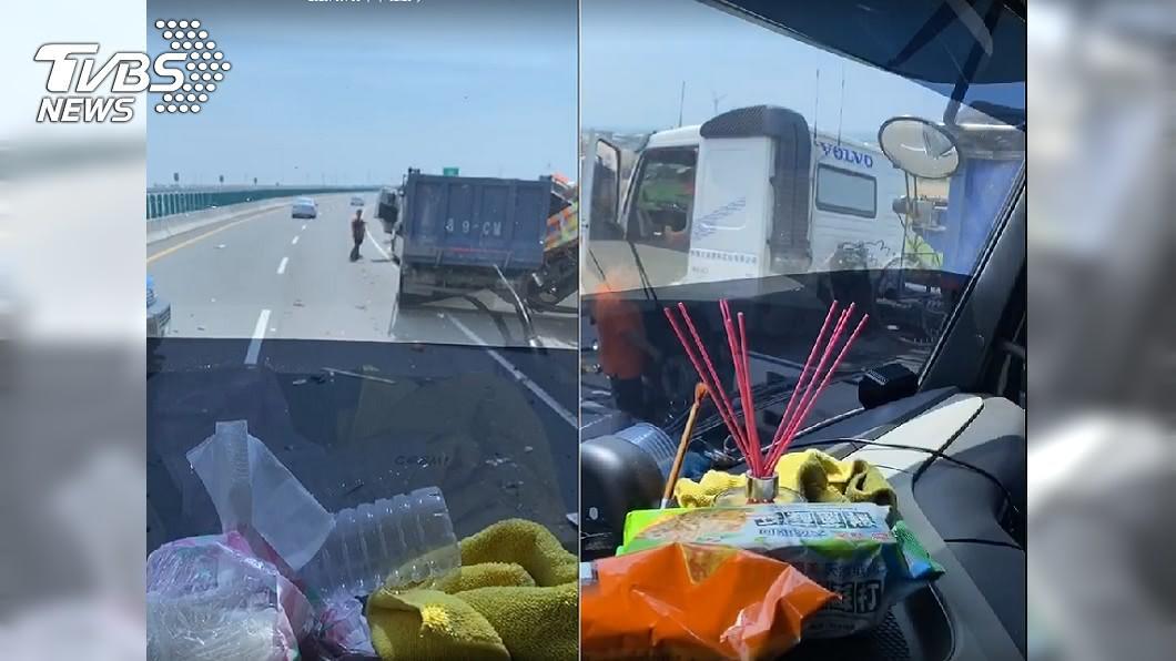 (圖/TVBS) 1死3傷!台61線「砂石車追撞工程車」路人也遭波及