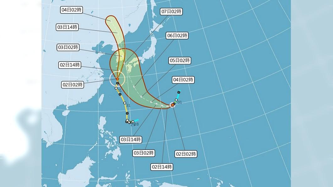 (圖/中央氣象局) 中颱梅莎無直接影響 輕颱海神短期對台也未影響