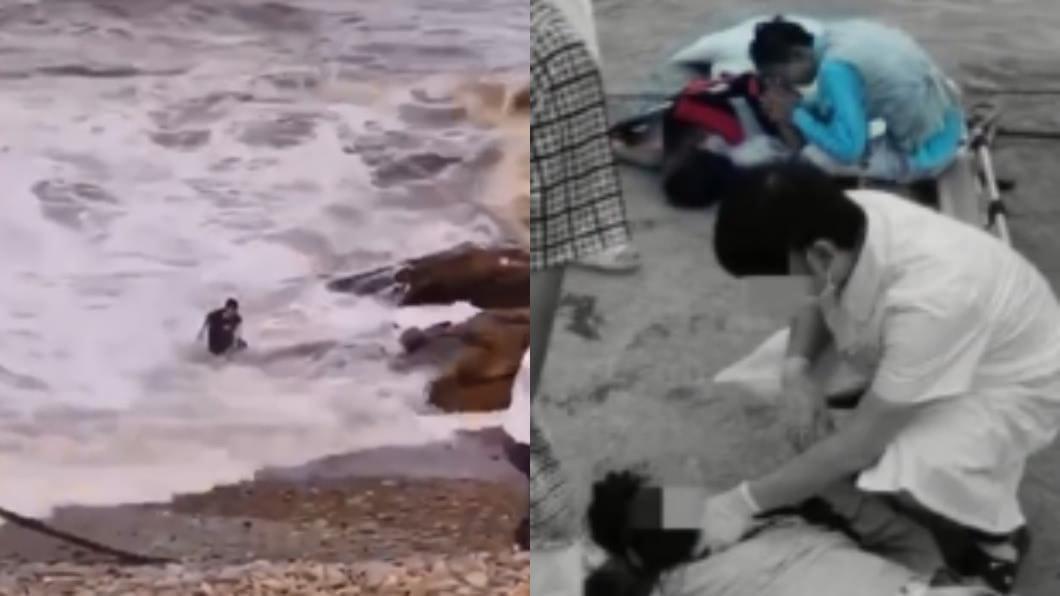 真的很危險!(圖/翻攝自微博) 赴海邊拍婚紗照落海2死 目擊者驚:新娘被大浪捲走