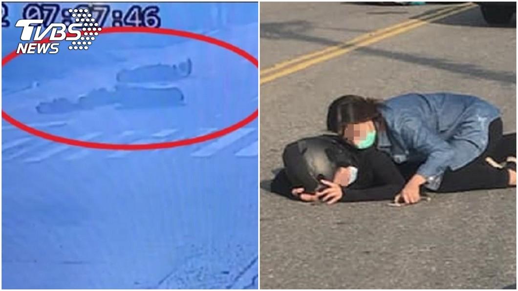 就算柏油路很燙,母親依舊抱著女兒10幾分鐘不放。(圖/TVBS、賴清美授權提供) 「求妳醒來…」女兒車禍昏迷 母衝上前肉身擋10分鐘
