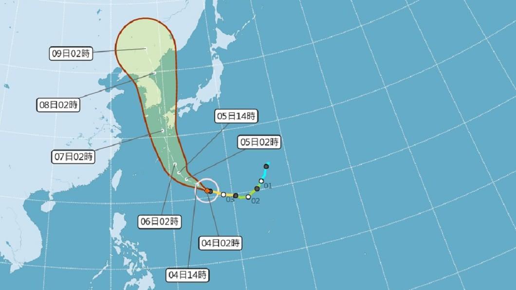 (圖/中央氣象局) 海神可能增為強颱朝日韓前進 對台無直接影響