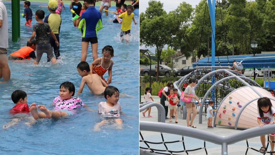 天氣這麼熱,當然是泡在水裡最舒服涼快囉。(圖/嘉義縣竹崎鄉公所提供) 抓住夏天尾巴! 嘉義親水公園親子鑽進「鯨魚肚」