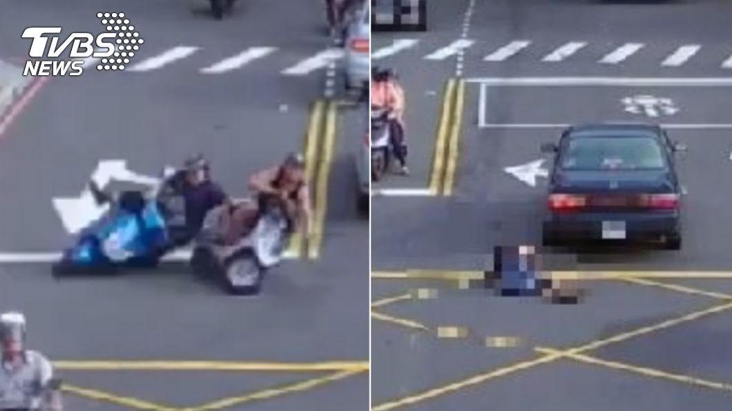 (圖/TVBS) 中和2機車擦撞騎士倒地!「對向車輾壓」頭重創慘死