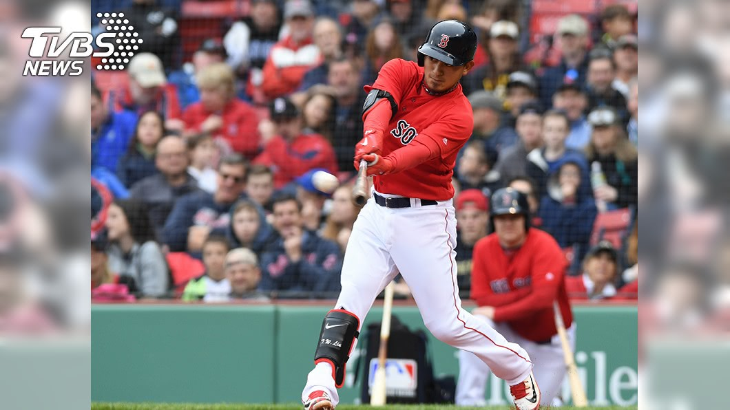 大聯盟紅襪隊台灣球員林子偉敲出紅襪贏球打點。(圖/達志影像路透社) 林子偉二壘安打彈出場外 唯一台將敲勝利打點
