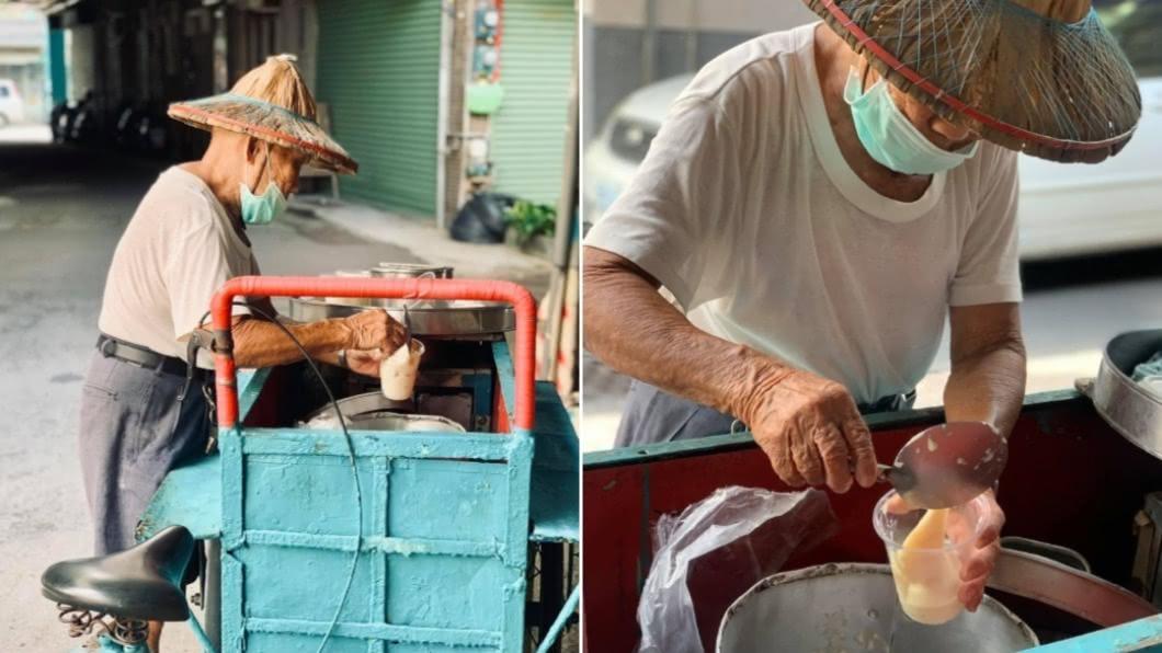 台南豆花伯高齡87歲仍會出來賣古早味豆花。(圖/翻攝自「台南爆料公社」) 客叫了豆花卻「嫌貴落跑」 她一問價錢鼻酸:別欺負人
